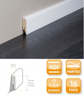 Modern Skirting Board MDF White Painted 1.1
