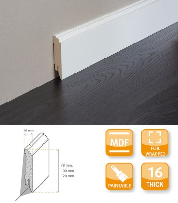 Renovation Skirting Board MDF Primed Foil 1.1