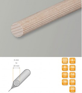 Reeded Dowel Rod Short Moulding Hardwood Beech 1.1