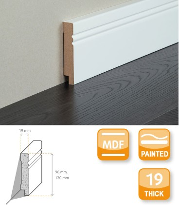 Avantgarde MDF White Painted Skirting Board 2.1
