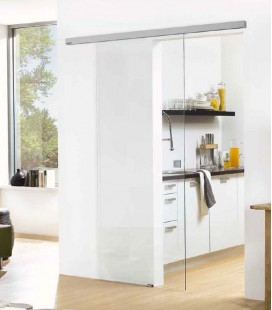 Clear Glass Sliding Door Set