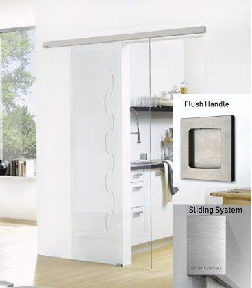 Alinea on clear glass sliding door with flush handle