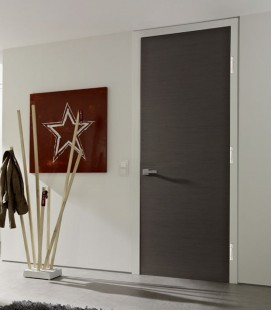 Dark Grey Real Wood Veneer Fire Rated Door