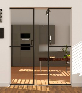 Pocket Double Doors with 1 Metal Profile