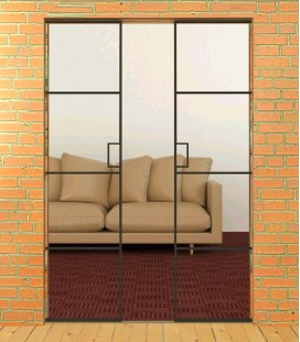 Metal Framed Double Pocket Doors
